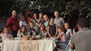 Family posing for photo