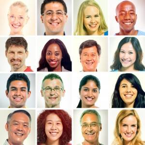 Multi-Ethnic Faces Portrait in a Row